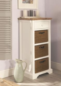 Florence Tallboy with Drawer and 3 Storage Baskets - White