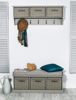 Tetbury Grey Coat Rack & Bench with 3 Faux Rattan Baskets