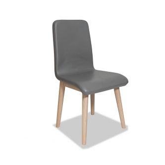 Edvard Olsen Dining Chair (Grey Faux Leather) - Light Oak
