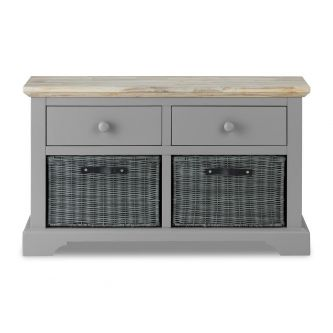 Florence Storage Bench with 2 Drawers and Baskets - Dove Grey