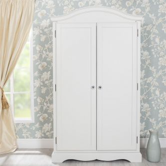 Romance Antique White 2 Door Full Hanging Wardrobe with Crystal Handles