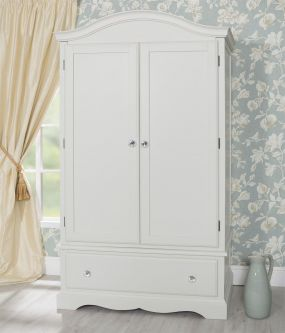 Romance Antique White Wardrobe with Deep Drawer and Crystal Handles