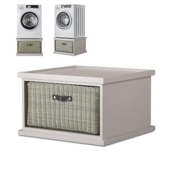 Tetbury washing Machine Stand with Storage, Truffle Laundry Pedestal
