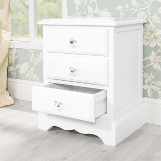 Romance True White Three Drawer Bedside Table with Crystal Handles