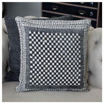 Black Block Print Checked Cushion