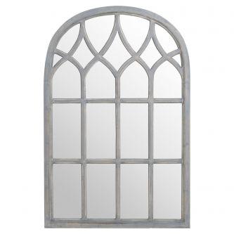 Arched Gothic Grey Window Mirror (121x80cm)