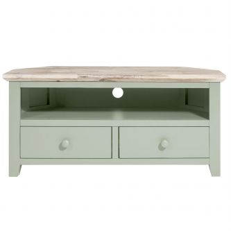 Florence Corner TV Unit with 2 Drawers, TV Stand - Sage Green