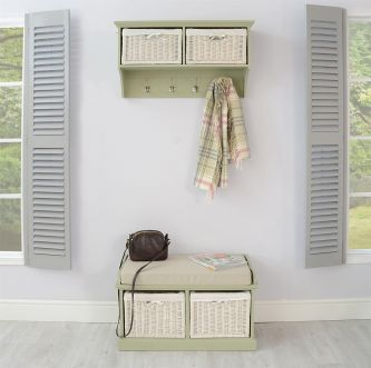 Tetbury Hallway Coat Rack and 2 Basket Bench Set - Sage Green