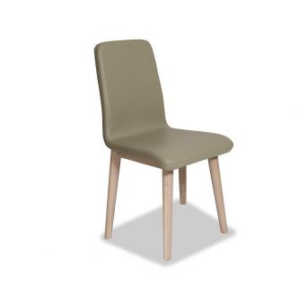 Edvard Olsen Dining Chair (Brown Faux Leather) - Light Oak
