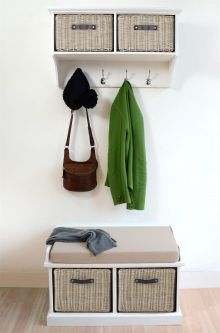 Tetbury White Coat Rack & Bench with 2 Brown Faux Rattan Baskets