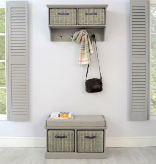 Tetbury Grey Coat Rack & Bench with 2 Grey Faux Rattan Baskets