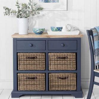 Florence Sideboard with 2 Drawers and 4 Baskets - Navy Blue