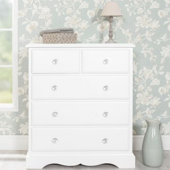 Romance True White 2 over 3 Chest of Drawers with Crystal Handles