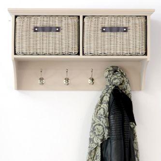 Tetbury Truffle Hanging Shelf with 2 Faux Rattan Baskets