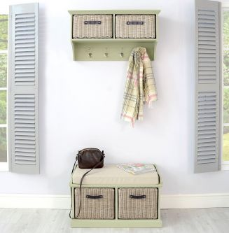Tetbury Sage Green Coat Rack & Bench with 2 Brown Faux Rattan Baskets