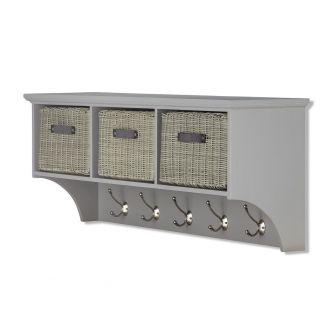 Tetbury Grey Hanging Shelf with 3 Grey Faux Rattan Baskets