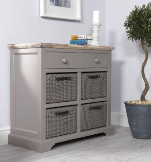 Florence Sideboard with 2 Drawers and 4 Baskets - Dove Grey