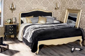 Juliette Gold King Bed  With Black Upholstered Headboard