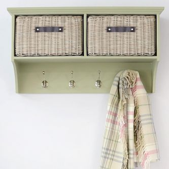 Tetbury Sage Green Hanging Shelf with 2 Brown Faux Rattan Baskets