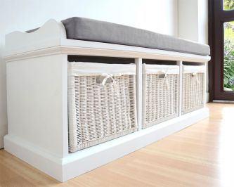 Tetbury White Bench with 3  Baskets and Grey Cushion