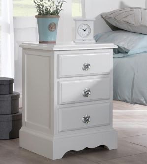 Romance Antique White Bedside Table with Crystal Handles
