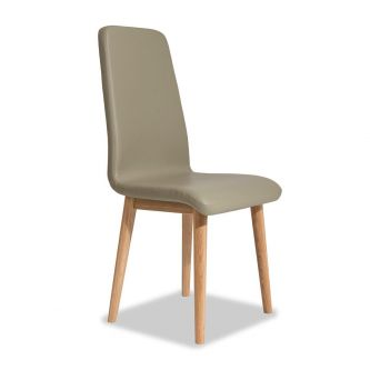 Edvard Olsen Highback Chair (Brown Faux Leather) - Golden Oak