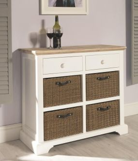 Florence Sideboard with 2 Drawers and 4 Baskets - White