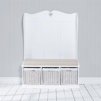 Tetbury Monks Bench with 3 White Storage Baskets & Cream Cushion