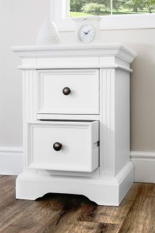 Gainsborough White 2 Drawer Wooden Bedside Table – Hamptons Style