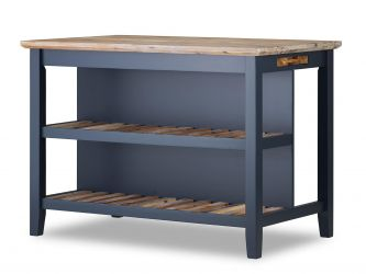 Florence Breakfast Bar with Shelves - Navy Blue