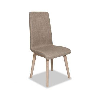 Edvard Olsen Highback Chair (Brown Fabric) - Light Oak