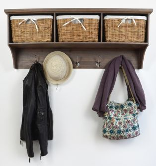 Tetbury Acacia Coat Rack with 3 baskets