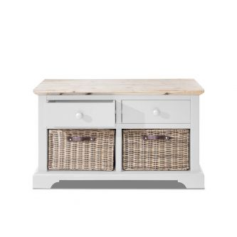Florence Storage Bench with 2 Drawers and Baskets - White