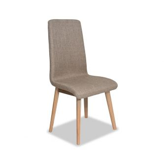 Edvard Olsen Highback Chair (Brown Fabric) - Golden Oak