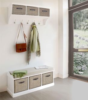 Tetbury White Coat Rack & Bench with 3 Brown Faux Rattan Baskets