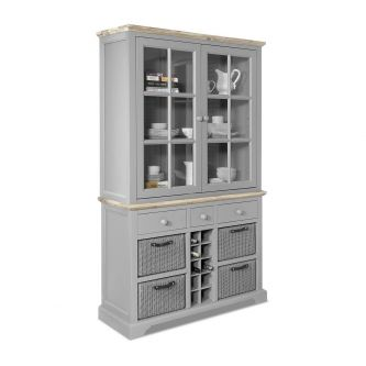 Florence Display Cabinet with Wine Rack - Dove Grey