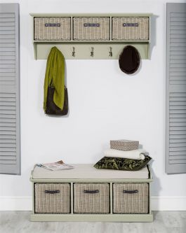 Tetbury Sage Green Coat Rack & Bench with 3 Brown Faux Rattan Baskets