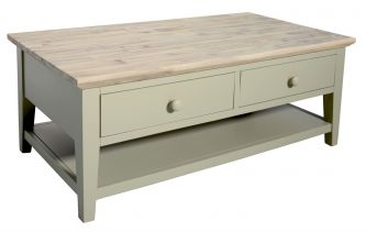 Florence Coffee Table  with 2 Drawers and Shelf - Sage Green
