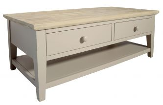 Florence Coffee Table with 2 Drawers and Shelf - Truffle