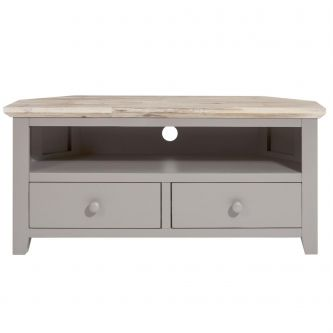 Florence Corner TV Unit with 2 Drawers, TV Stand - Dove Grey