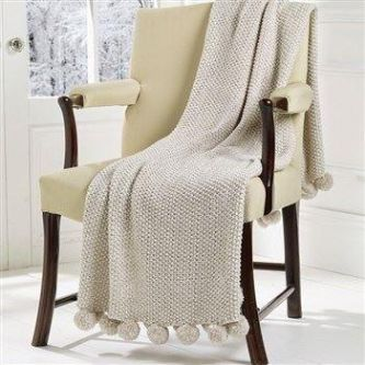 Cosy Knit Pom Pom Throw Linen (130x170)