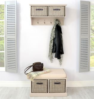 Tetbury Truffle Coat Rack & Bench with 2 Brown Faux Rattan Baskets