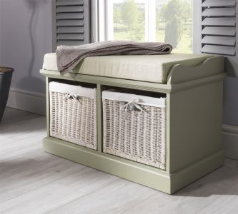 Tetbury Sage Green Bench with 2 White Storage Baskets