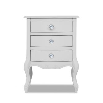 Juliette White Bedside Table with Crystal Handles