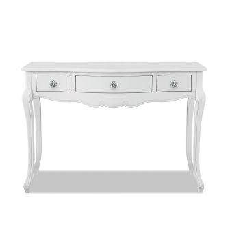 Juliette White Dressing Table with Crystal Handles