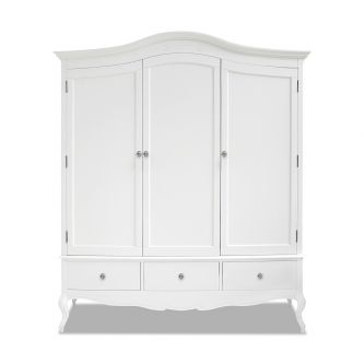 White French Triple Wardrobe with crystal handles