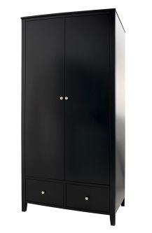 Brooklyn Double Wardrobe with 2 Drawers -Black