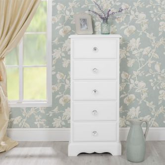 Romance True White 5 Drawer Tallboy Chest of Drawers with Crystal Handles
