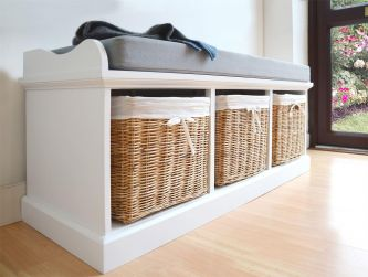 Tetbury Bench with 3 Natural Baskets and Grey Cushion