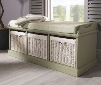 Tetbury Sage Green Storage Bench with 3 White Baskets